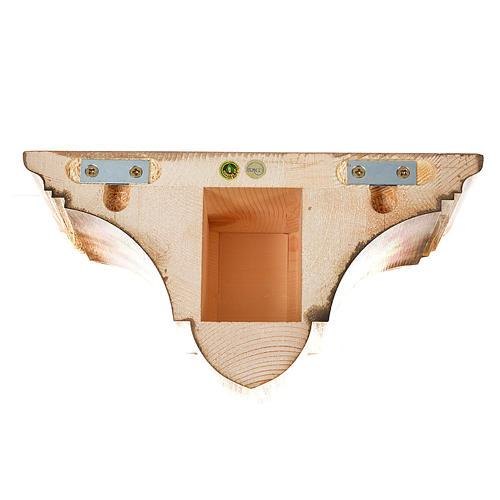 Prateleira parede gótica 22x27 cm madeira pátina múltipla 5