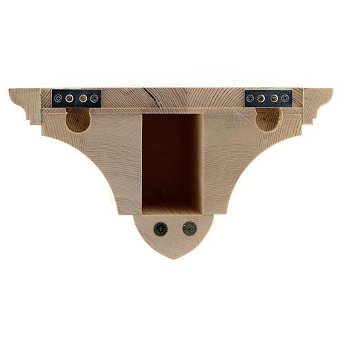 Mensola parete gotica 22x27 legno naturale cerato 6