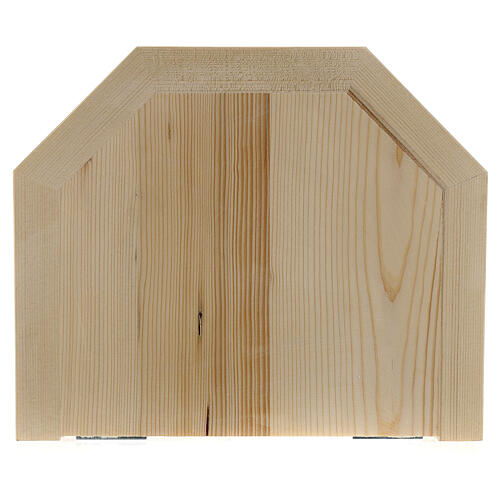 Wall shelf, gothic 22x27 in natural wax Valgardena wood 3