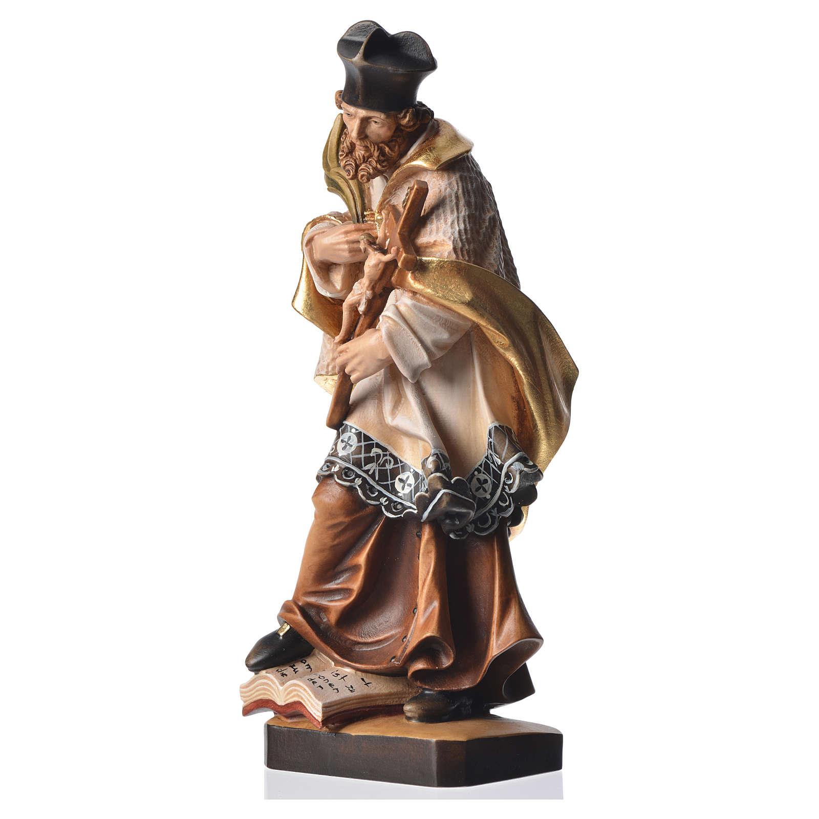 Statua San Nepomuceno 30 cm legno dipinto 4