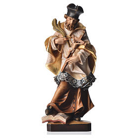 Hand painted wooden statues: Saint John of Nepomuk in painted Valgardena wood