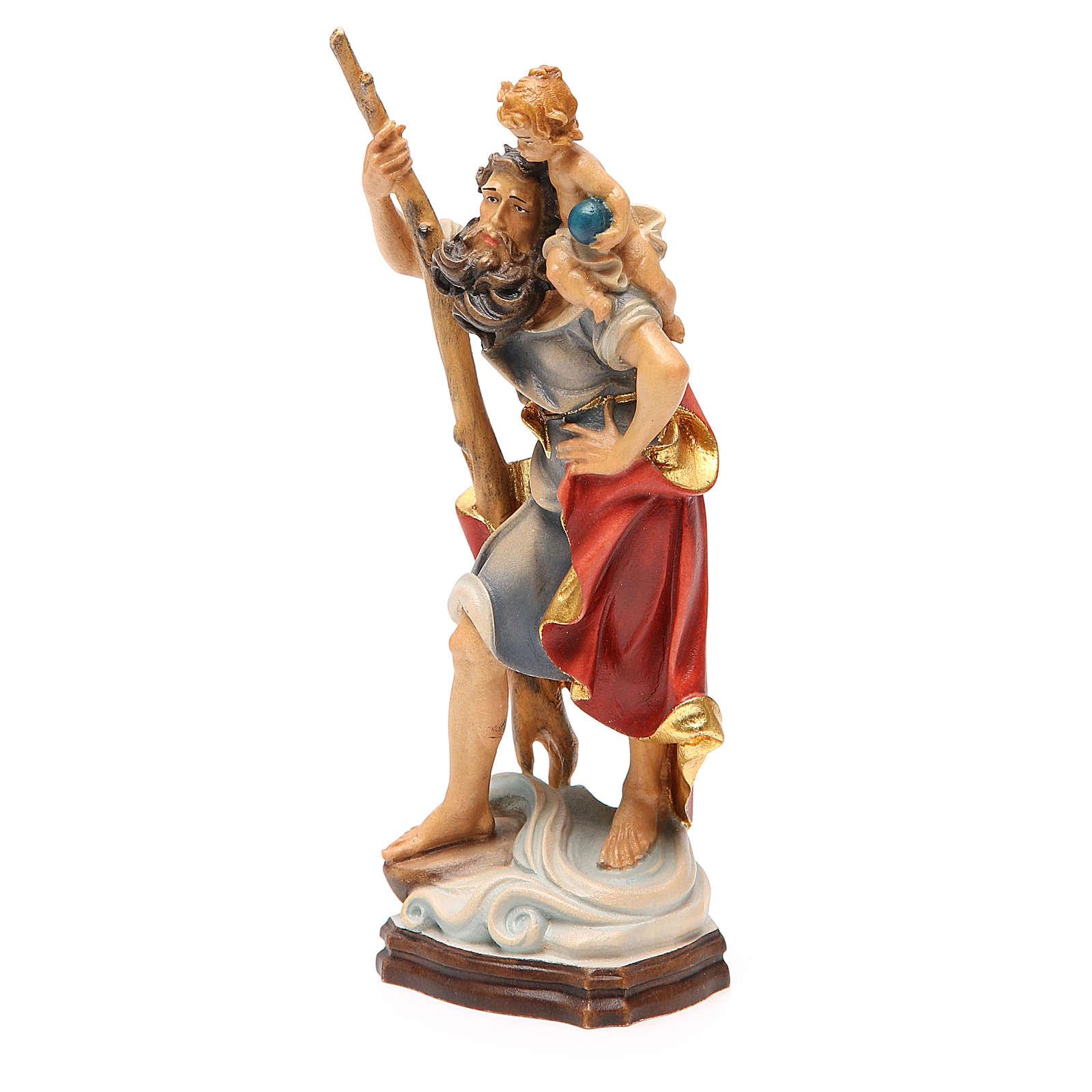 STOCK San Cristoforo 20 cm legno Valgardena finiture oro 4
