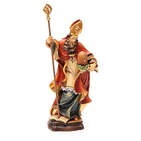 Hand painted wooden statues: STOCK Saint Ambrose 20 cm in wood coloured Valgardena