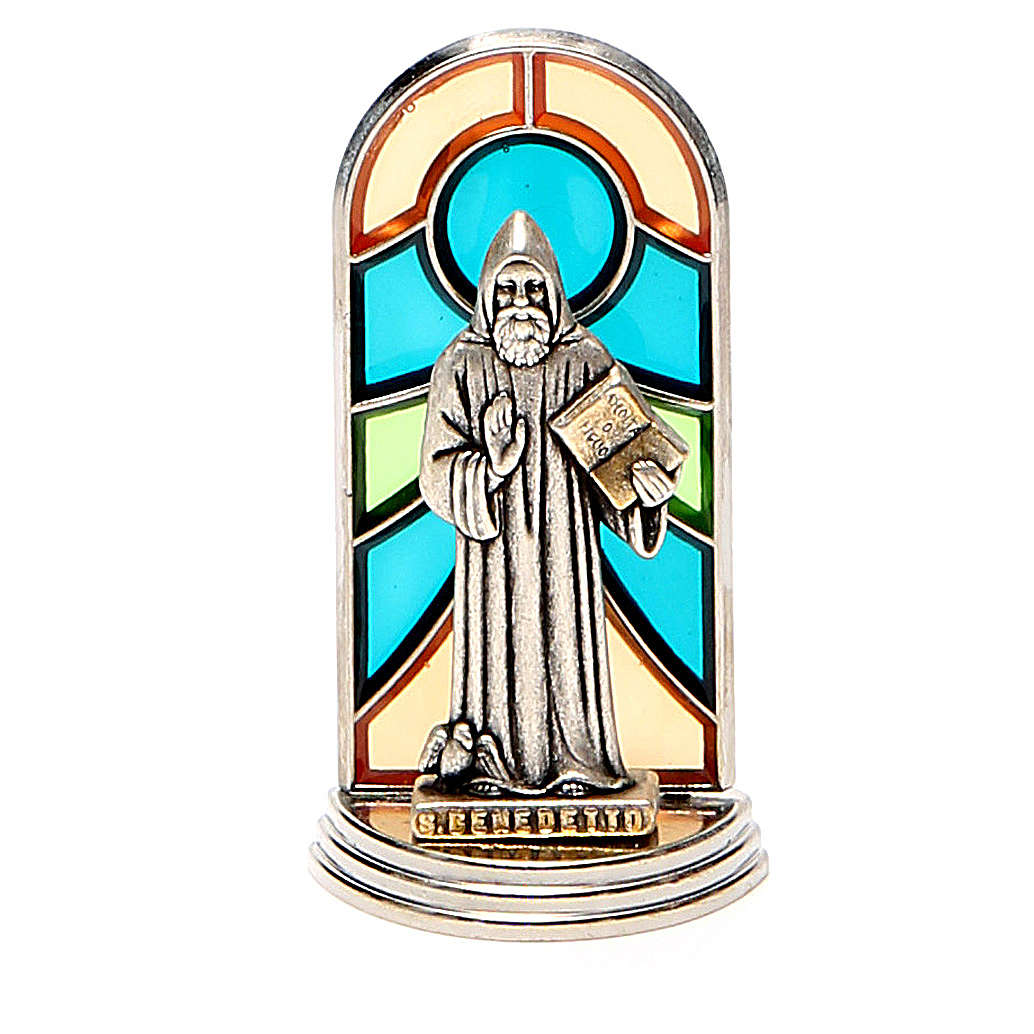 STOCK Saint Benedict metal 5,5cm, glass base 4