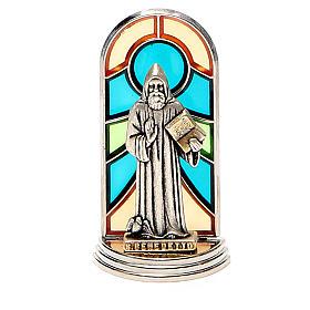 STOCK Saint Benedict metal 5,5cm, glass base s4