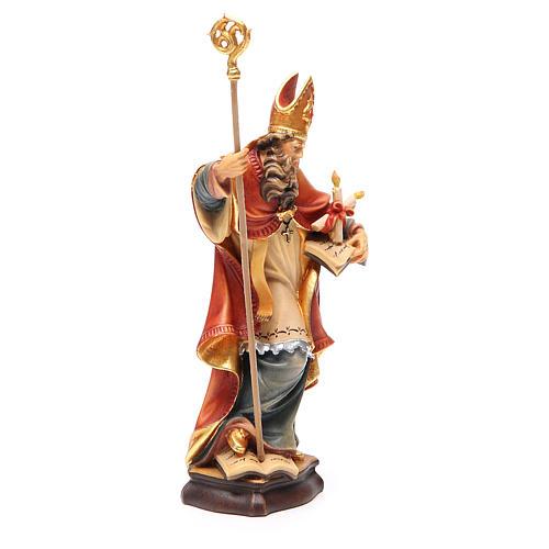 STOCK Statue Saint Blaise bois peint 20 cm 3