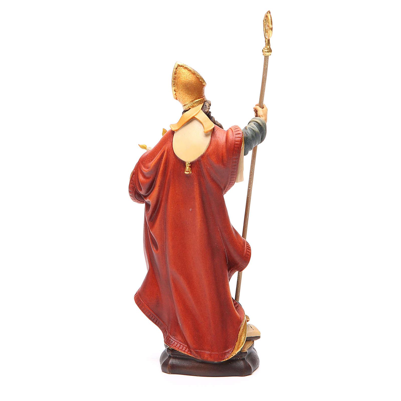 STOCK Statua San Biagio legno dipinto cm 20 4