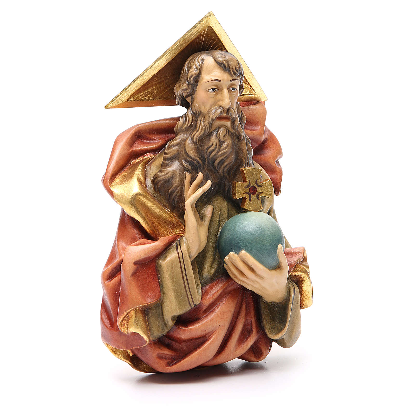 STOCK Padre Eterno de madera pintada 15 cm 4