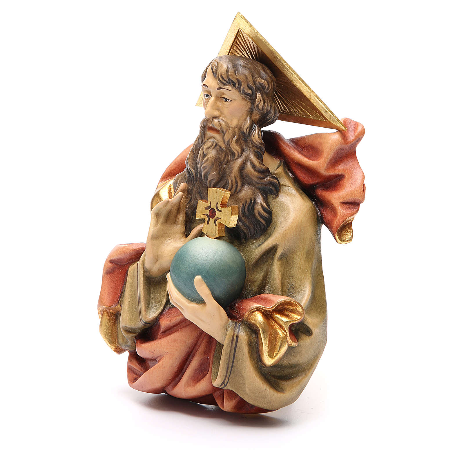 STOCK Père Éternel en bois peint 15 cm 4