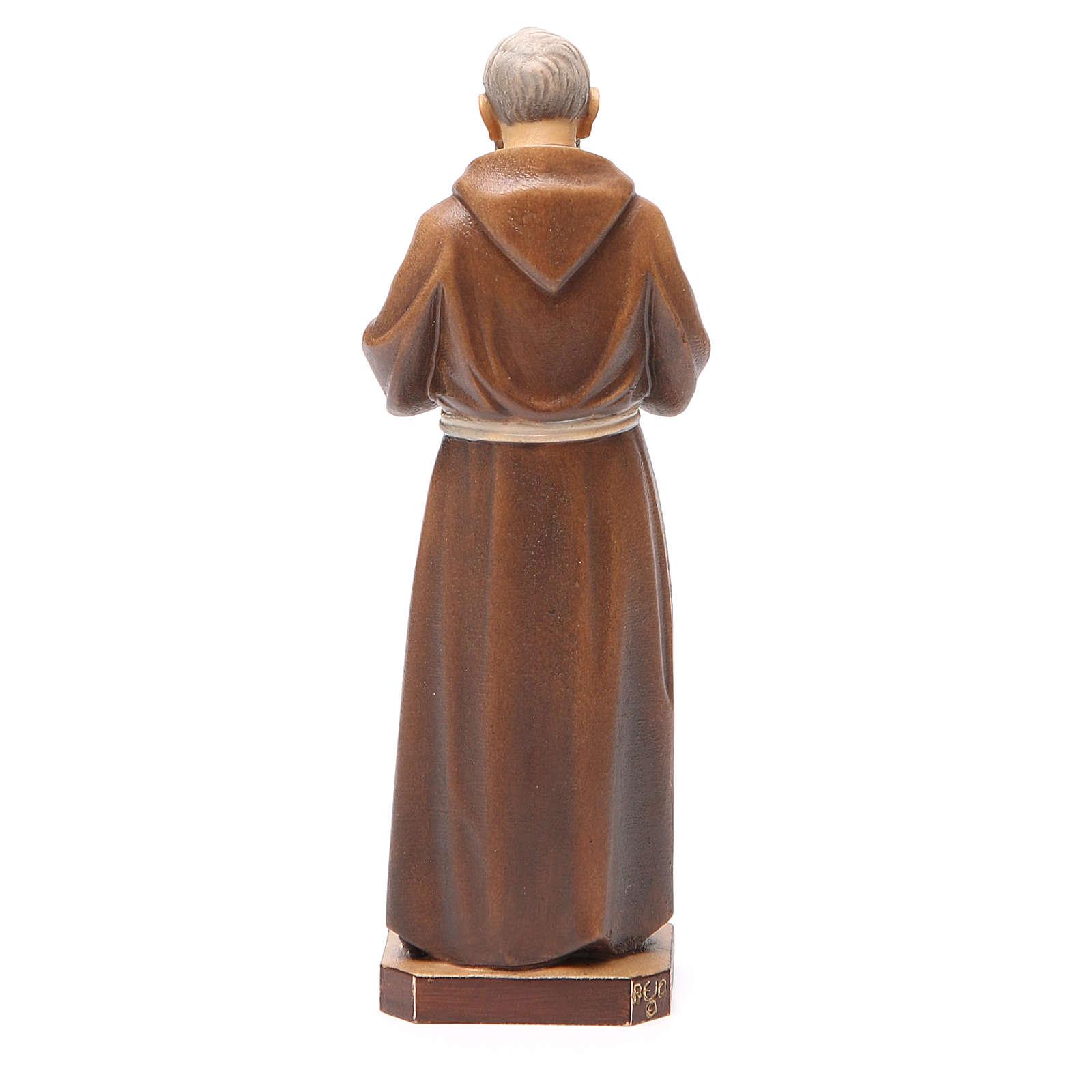 STOCK Statue Saint Pio bois peint 20 cm 4