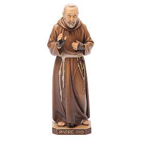 STOCK Statue Saint Pio bois peint 20 cm s1
