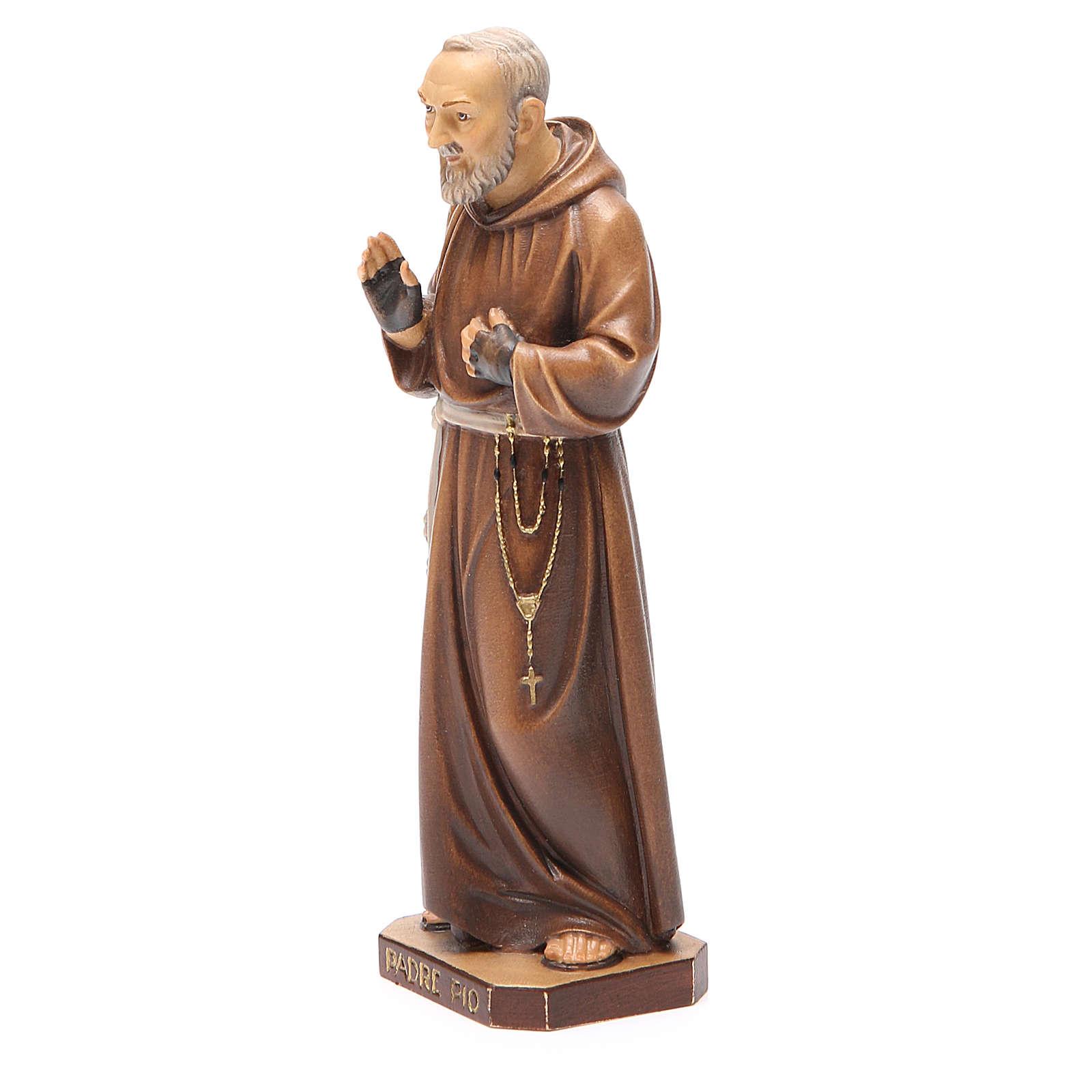 STOCK Statua Padre Pio legno dipinto cm 20 4
