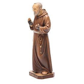 STOCK Statua Padre Pio legno dipinto cm 20 s2