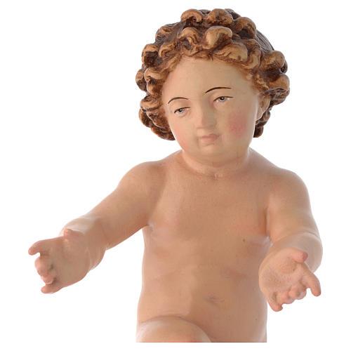 Bambinello Gesù in legno dipinto colori reali 2