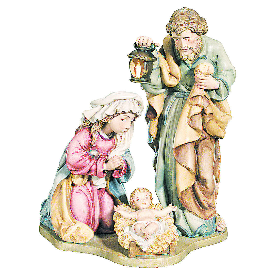 Sacra Famiglia colori reali legno acero dipinto 4