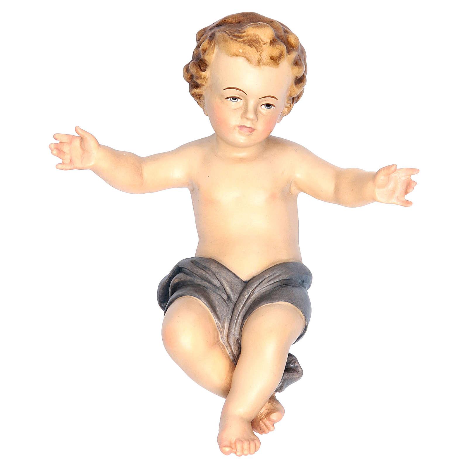 Bambinello Gesù braccia aperte in legno drappo blu 3