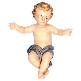 Bambinello Gesù braccia aperte in legno drappo blu s1