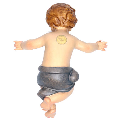 Bambinello Gesù braccia aperte in legno drappo blu 2
