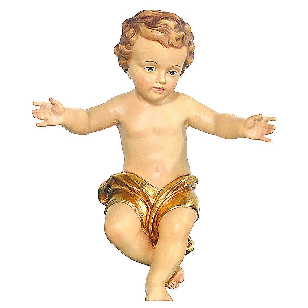 Bambinello Gesù braccia aperte in legno drappo dorato 3
