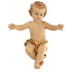 Baby Jesus wooden figurine with opened arms and golden drape s1