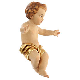 Baby Jesus wooden figurine with opened arms and golden drape s3