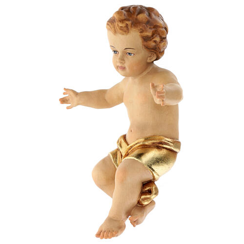 Baby Jesus wooden figurine with opened arms and golden drape 4