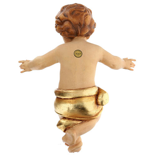 Baby Jesus wooden figurine with opened arms and golden drape 5