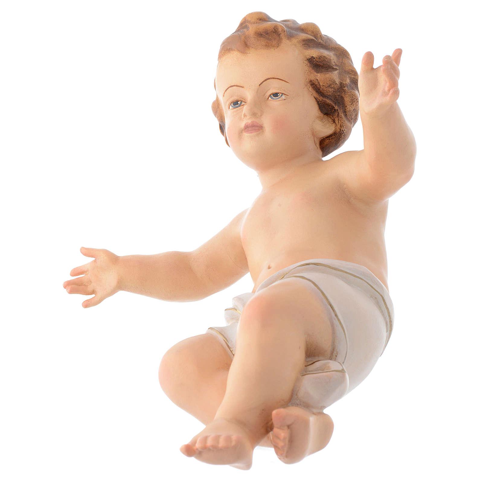 Bambinello Gesù braccia aperte in legno drappo bianco 3