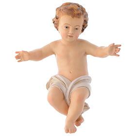 Bambinello Gesù braccia aperte in legno drappo bianco s1