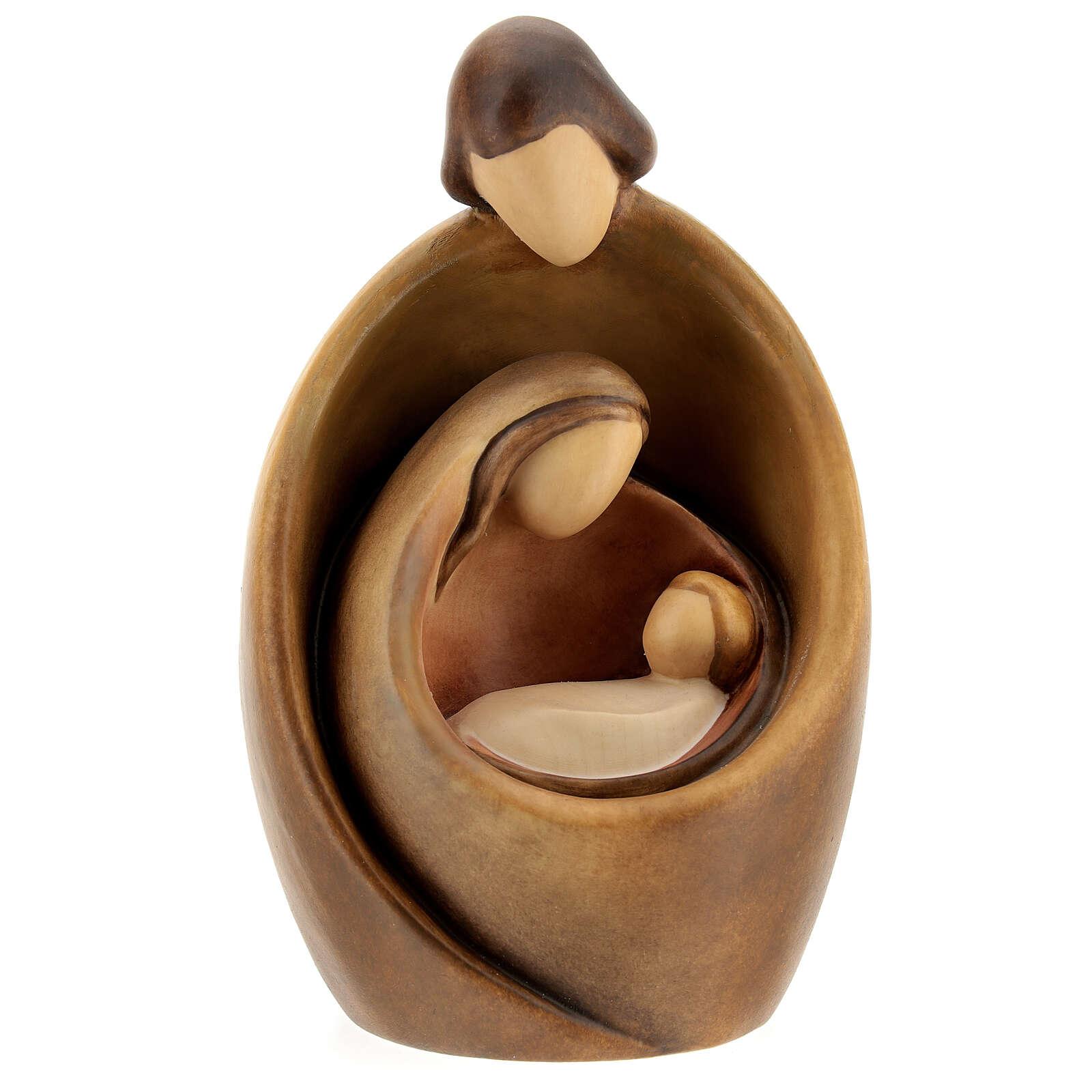 Sacra Famiglia legno varie tonalità marrone Giuseppe abbraccio 4