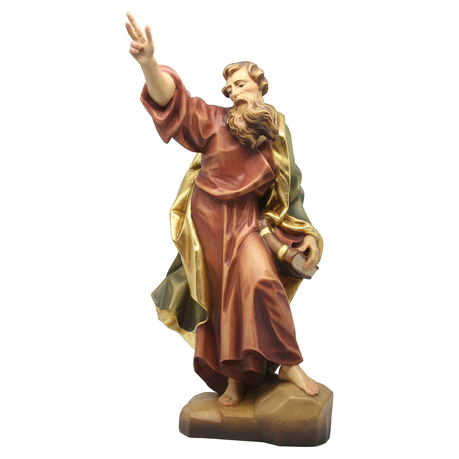 Statua San Paolo in legno colorato dipinto 4
