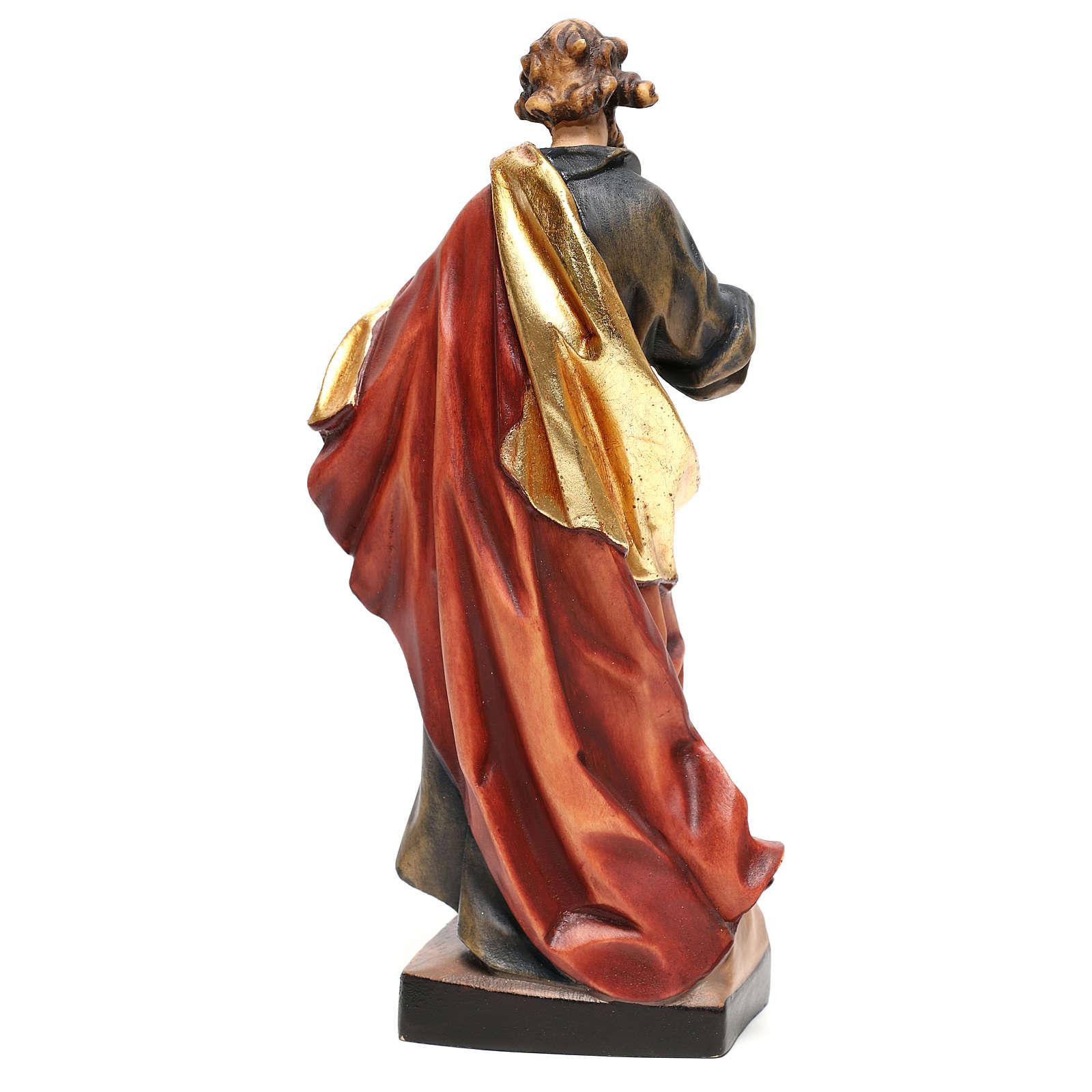 San Mateo de madera pintada, trajes color azul, oro y rojo 4