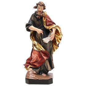 Statues en bois peint: Saint Matthieu bois coloré tunique bleue or rouge