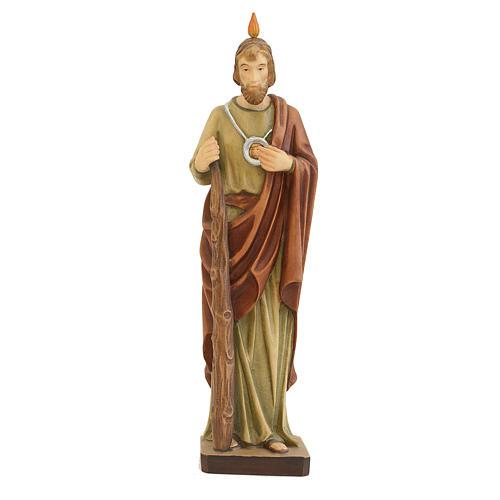 Statua di San Giuda in legno dipinto mantello marrone 1