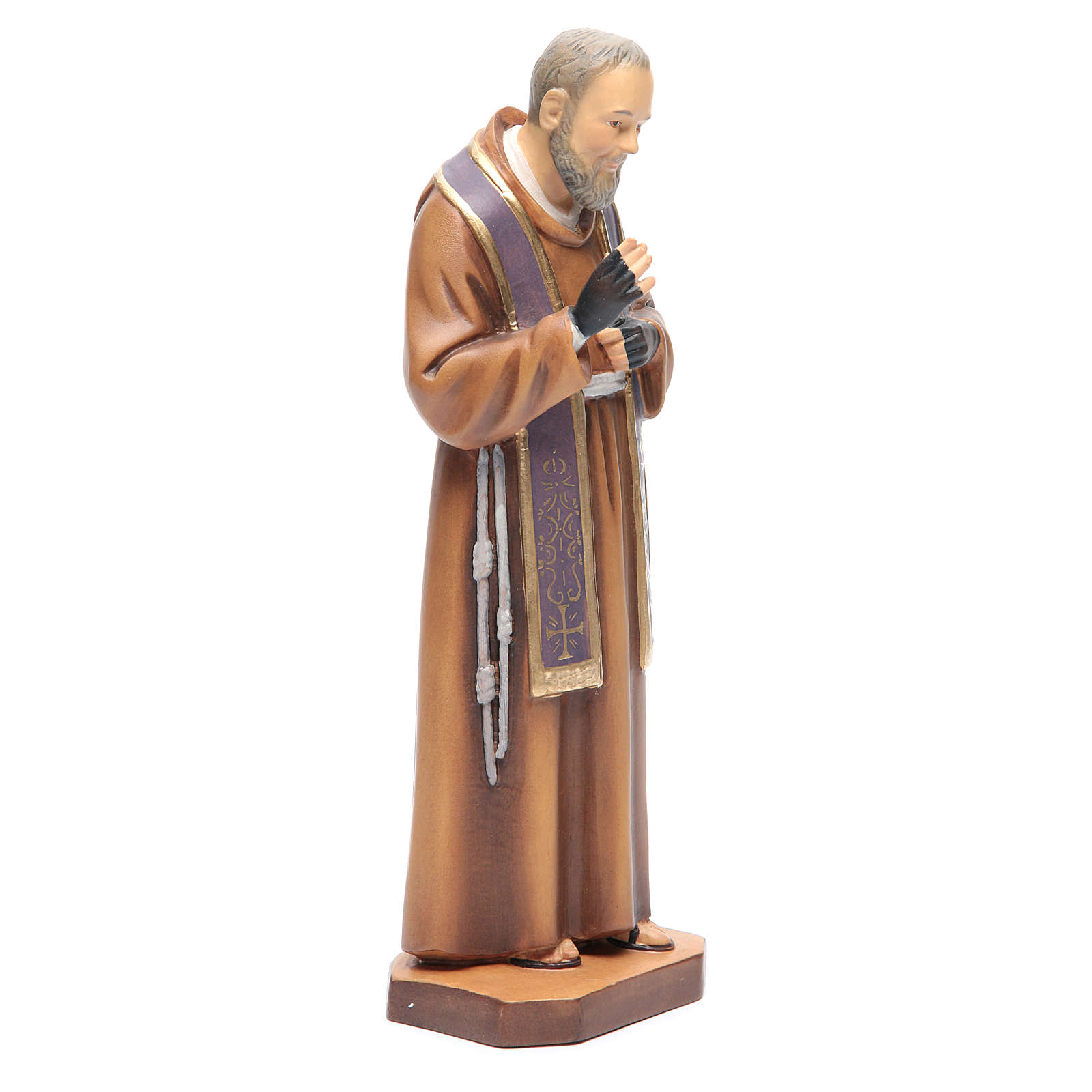 Saint Pio de Pietrelcina bois peint étole violette 4