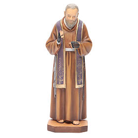Saint Pio de Pietrelcina bois peint étole violette s1