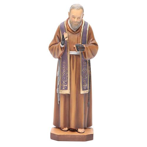 Saint Pio de Pietrelcina bois peint étole violette 1
