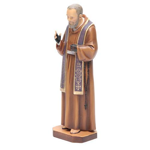 Saint Pio de Pietrelcina bois peint étole violette 2