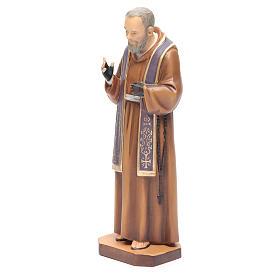 San Padre Pio da Pietrelcina legno dipinto stola viola s2