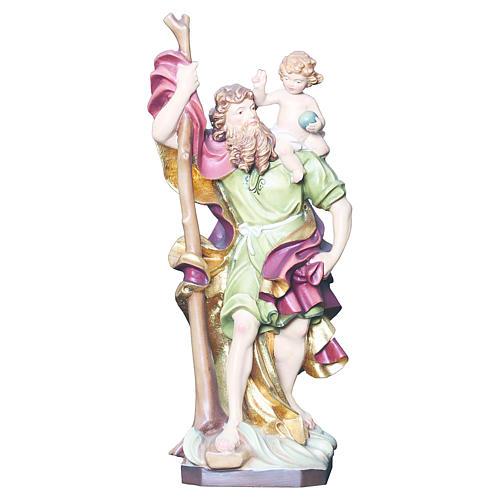 Saint Christophe en bois coloré 1