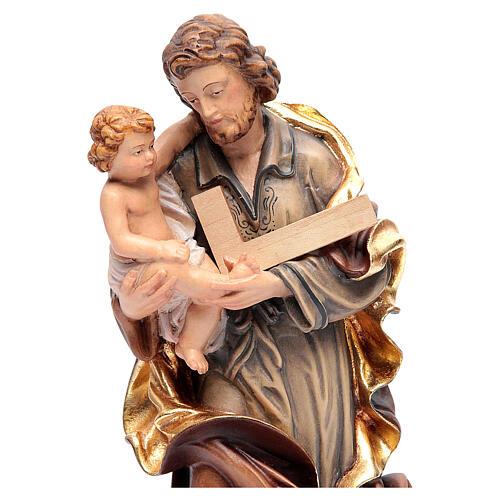 Heiliger Josef mit Kind bemalten Grödnertal Holz 4