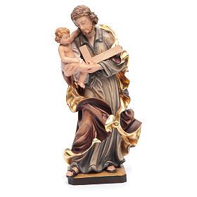 Estatua San José con el Niño Jesús de madera pintada s1