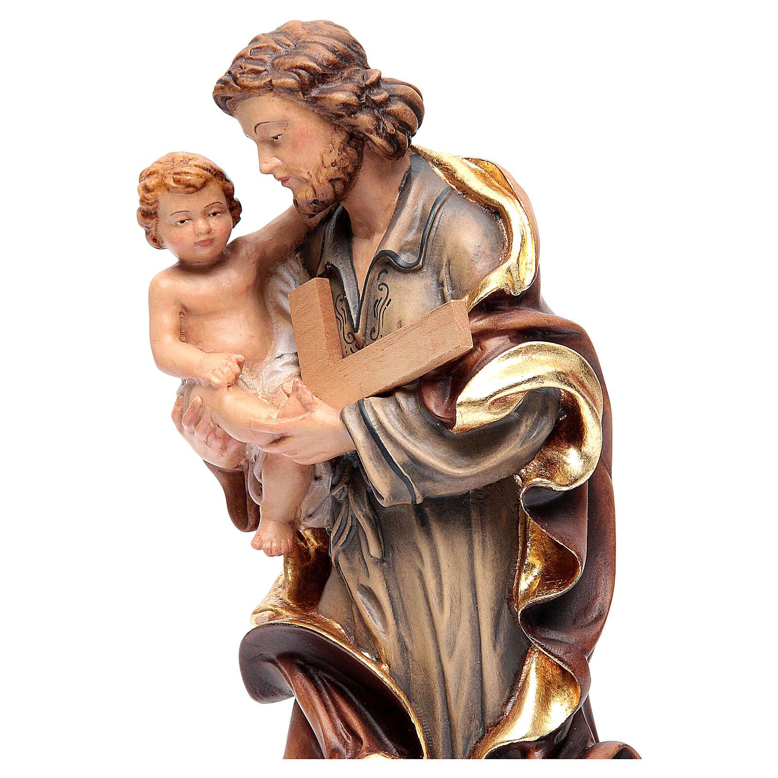 Saint Joseph avec Enfant bois coloré 4