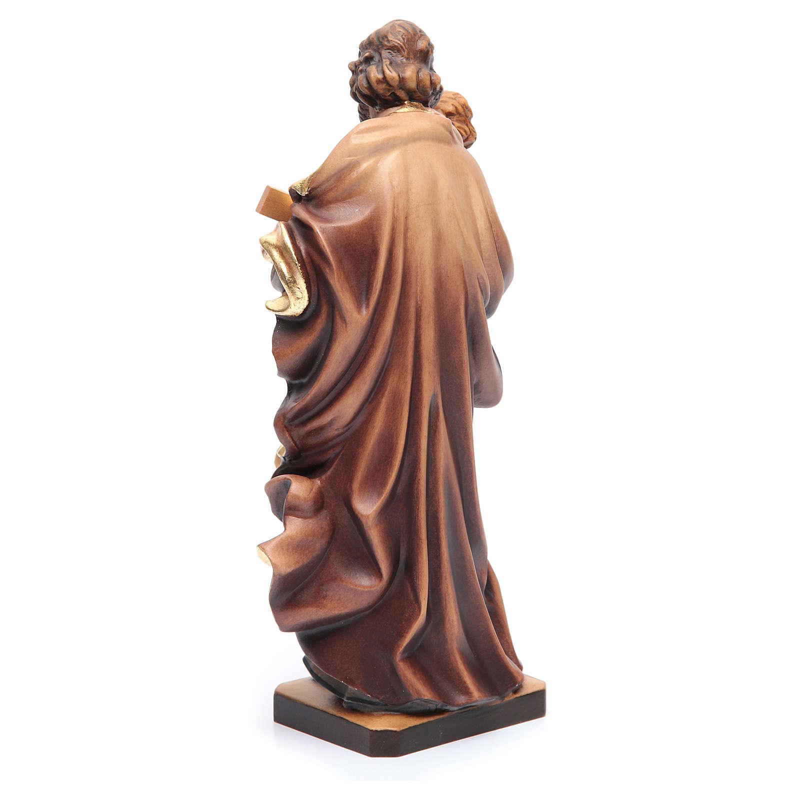 Statua San Giuseppe con Bambino legno dipinto colorato 4
