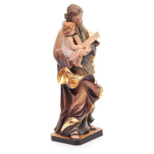 Statua San Giuseppe con Bambino legno dipinto colorato 3