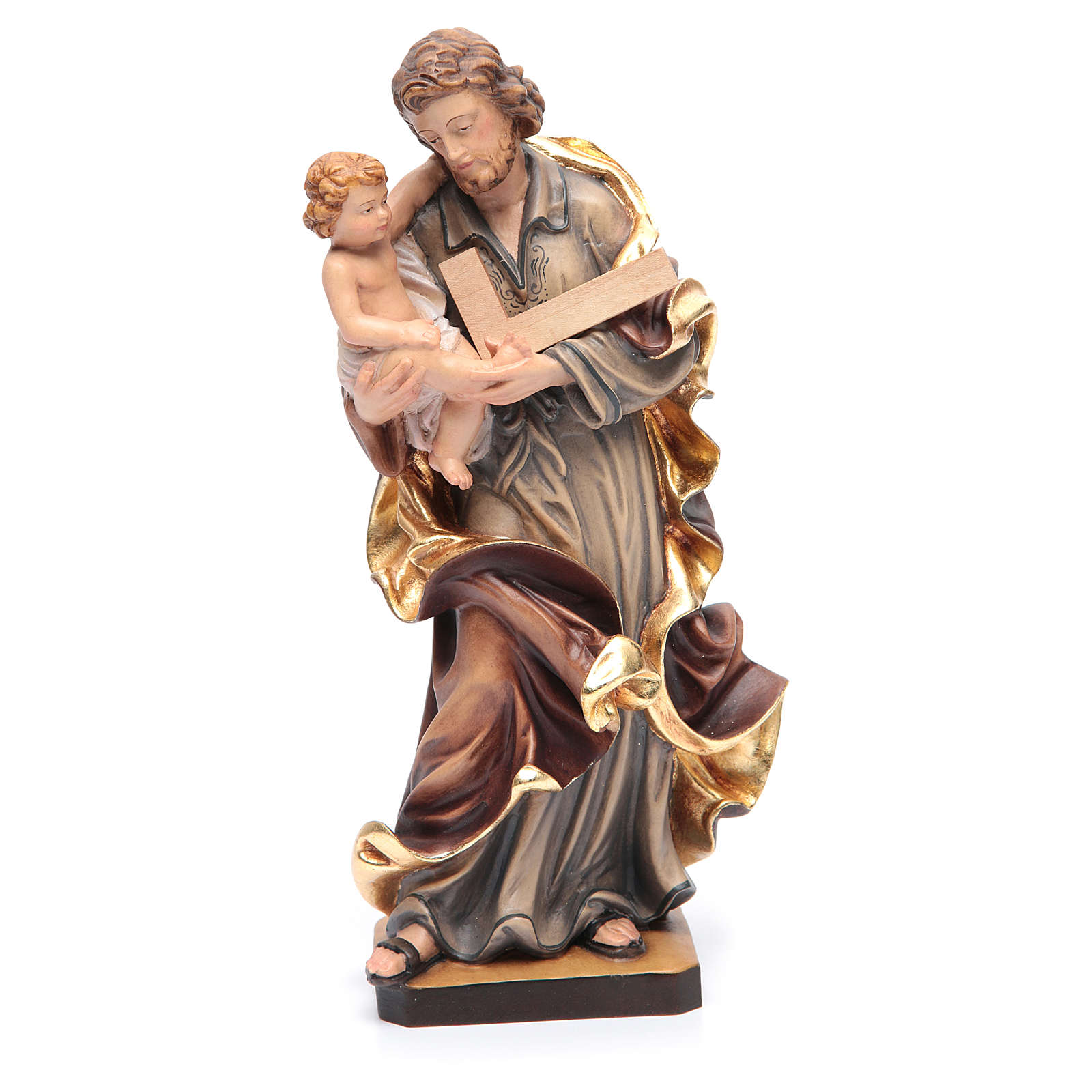Saint Joseph statue with Baby Jesus in painted wood 4