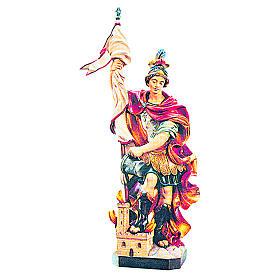 Statues en bois peint: Statue Saint Florian en bois coloré