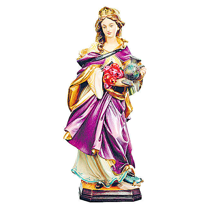Santa Elisabetta con brocca e corona legno dipinto 4