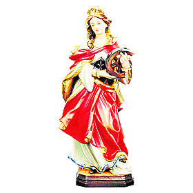 Santa Catarina em madeira corada vestido vermelho