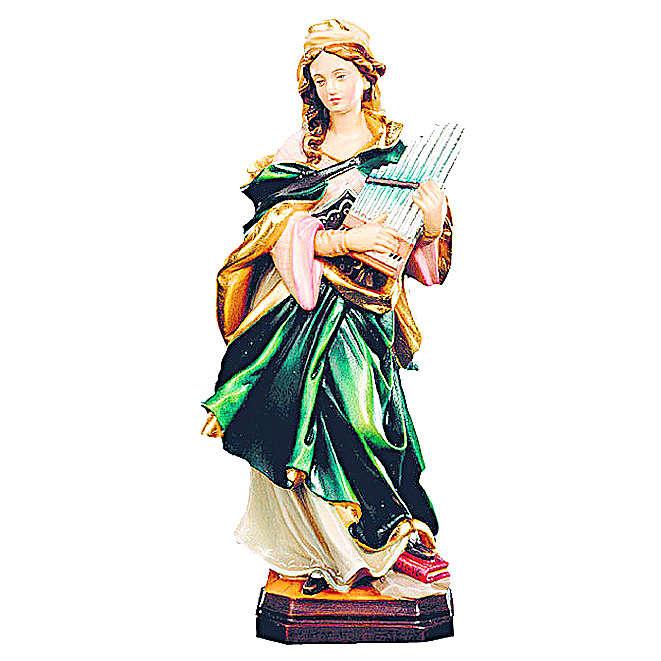 Santa Cecilia in legno colorato con strumento musicale 4